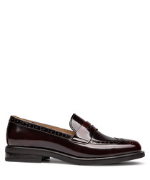 Wine red patent leather smart loafers