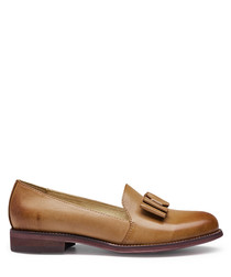 Brown lambskin bow detail loafers
