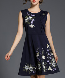 Navy floral sleeveless mini dress