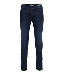 Weft dark blue cotton blend jeans