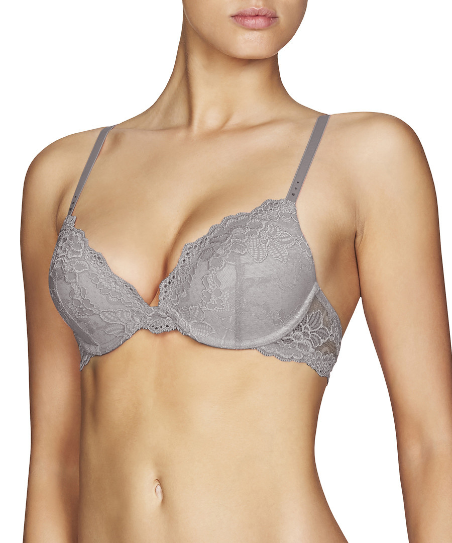 My Fit grey lace push-up plunge bra Sale - Pleasure State