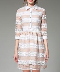 Apricot lace striped 3/4 sleeve dress