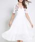 White floral v neck dress Sale - Kaimilan Sale