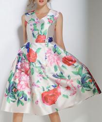 White & red floral print V-neck dress