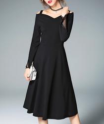Black cotton blend cold-shoulder dress