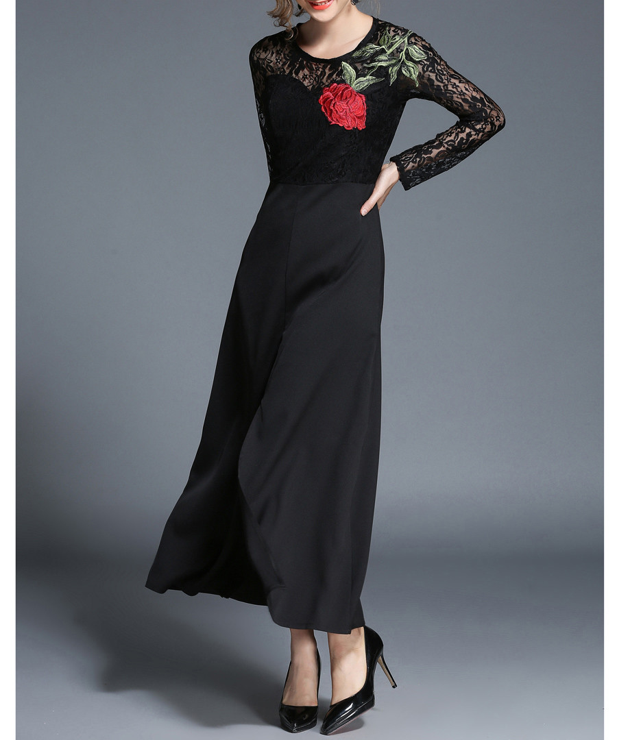 Black floral motif & lace maxi dress Sale - kaimilan