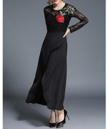 Black floral motif & lace maxi dress
