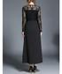 Black floral motif & lace maxi dress Sale - kaimilan Sale