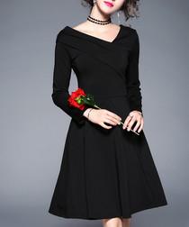 Black long sleeve V-neck dress