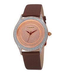 Brown & rose gold-tone crystal watch