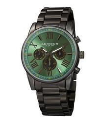 Green & black steel watch