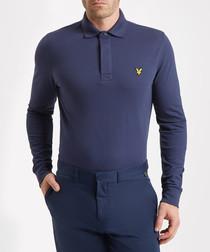 Navy cotton blend long sleeve polo shirt