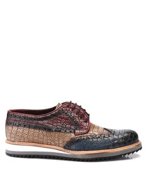 Brown & coffee leather lace-up shoes