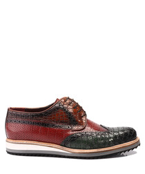Brown & black leather lace-up shoes