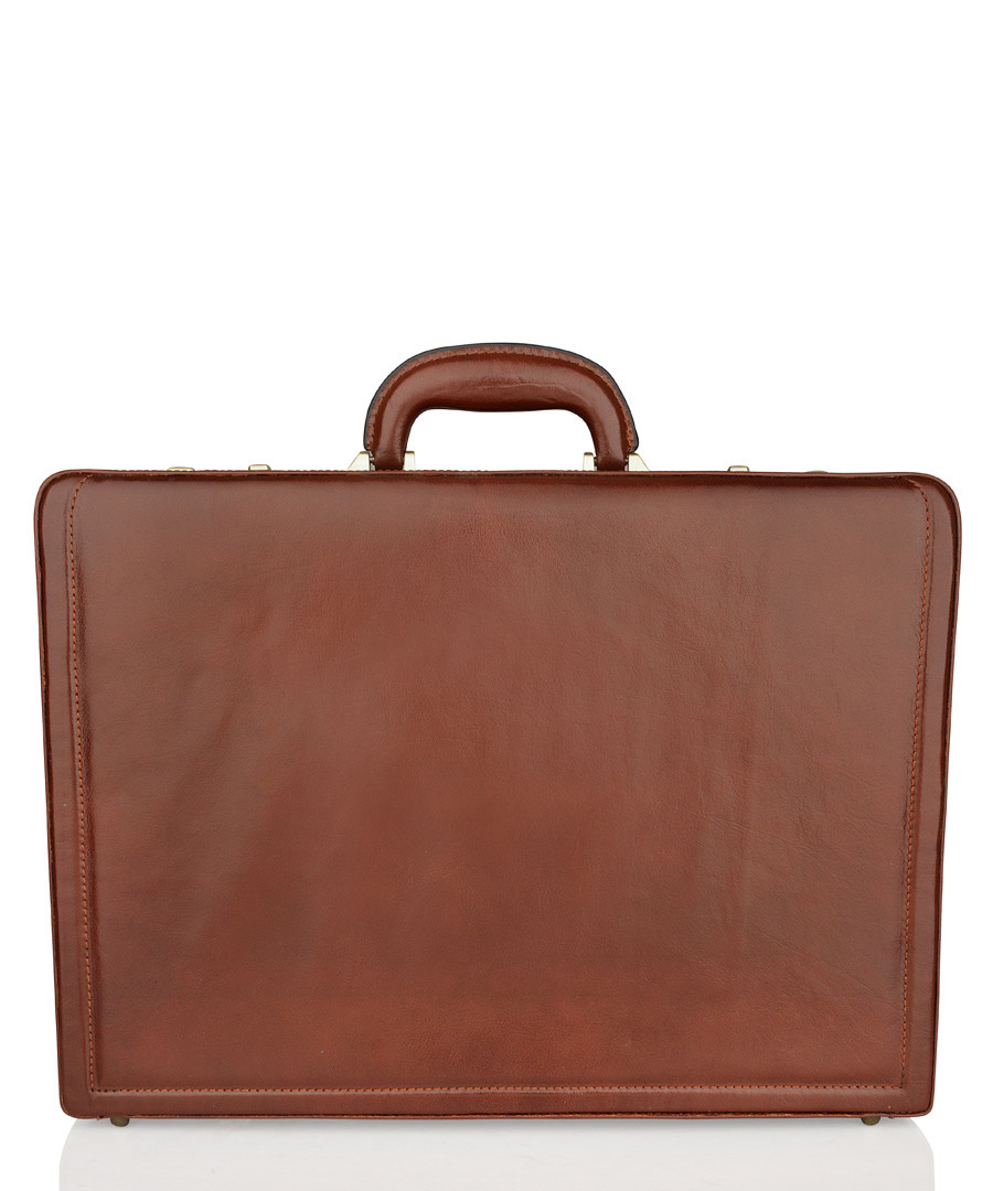 Cognac leather rectangular briefcase Sale - woodland leathers
