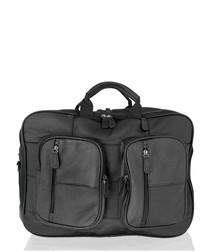 Black leather pocket detail briefcase