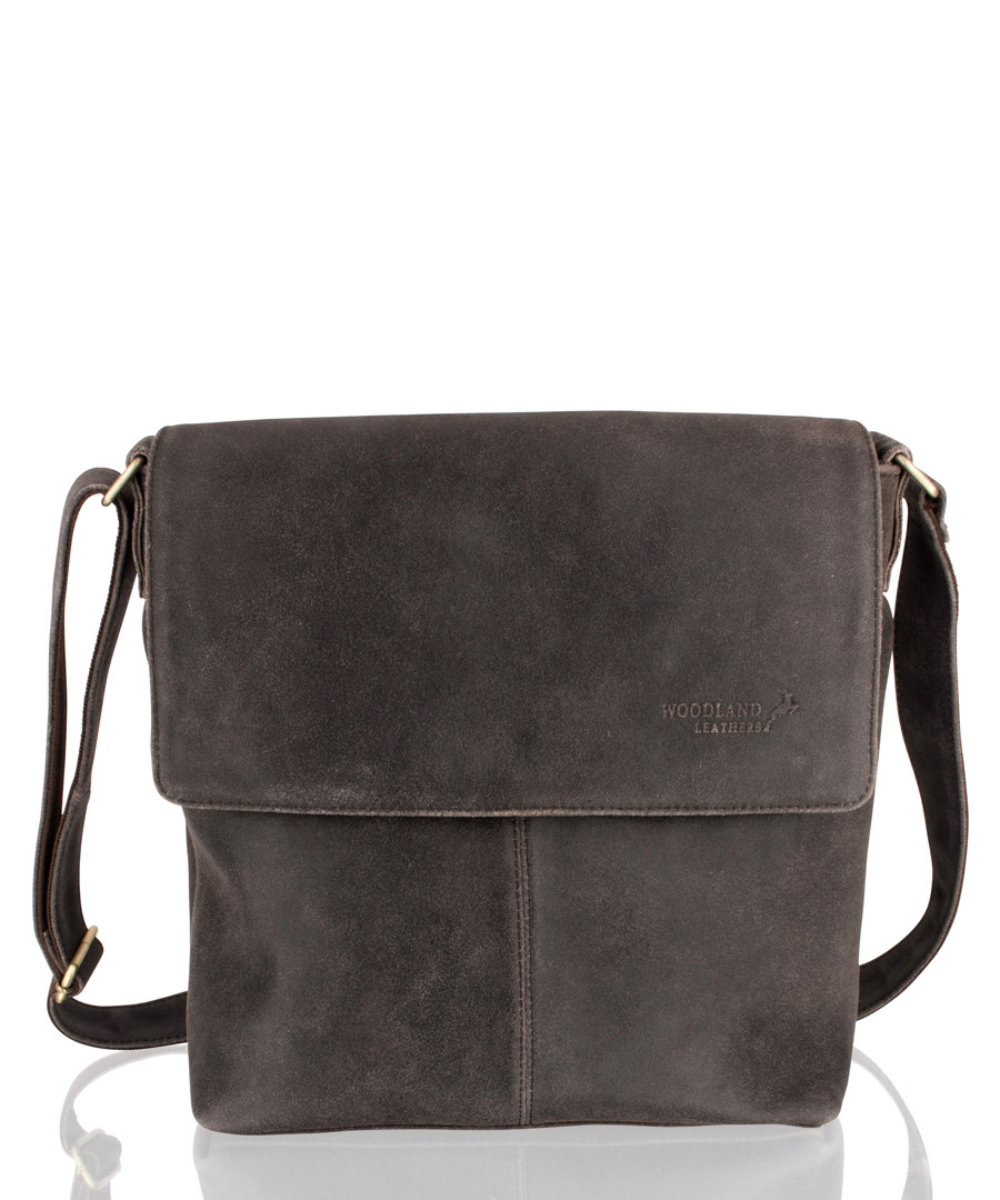 Dark brown suede messenger bag Sale - woodland leather