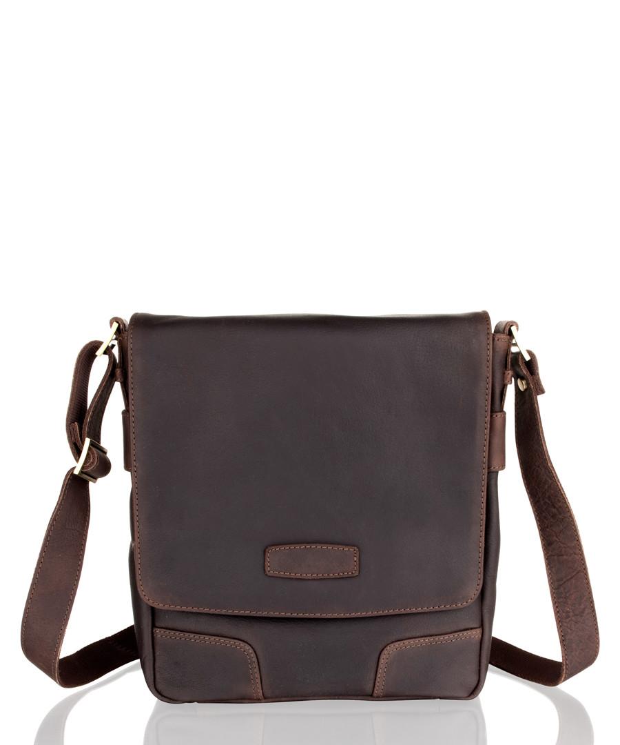 Brown leather portrait messenger bag Sale - woodland leathers