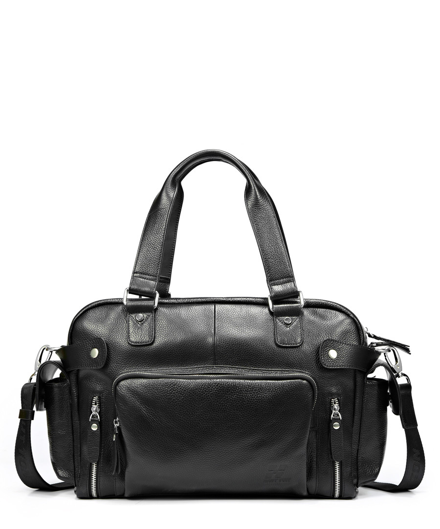Black leather zipped shoulder bag  Sale - hautton