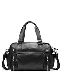 Black leather zipped shoulder bag