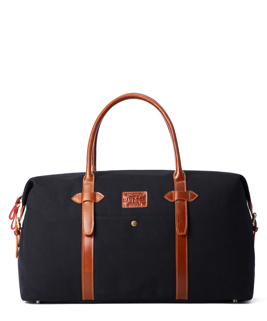Black & tan leather weekend holdall Sale - woodland leathers
