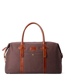 Purple & tan leather weekend holdall