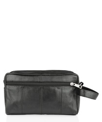 Black leather single zip bag