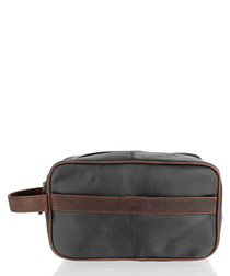 Galaxy black & brown leather pouch bag