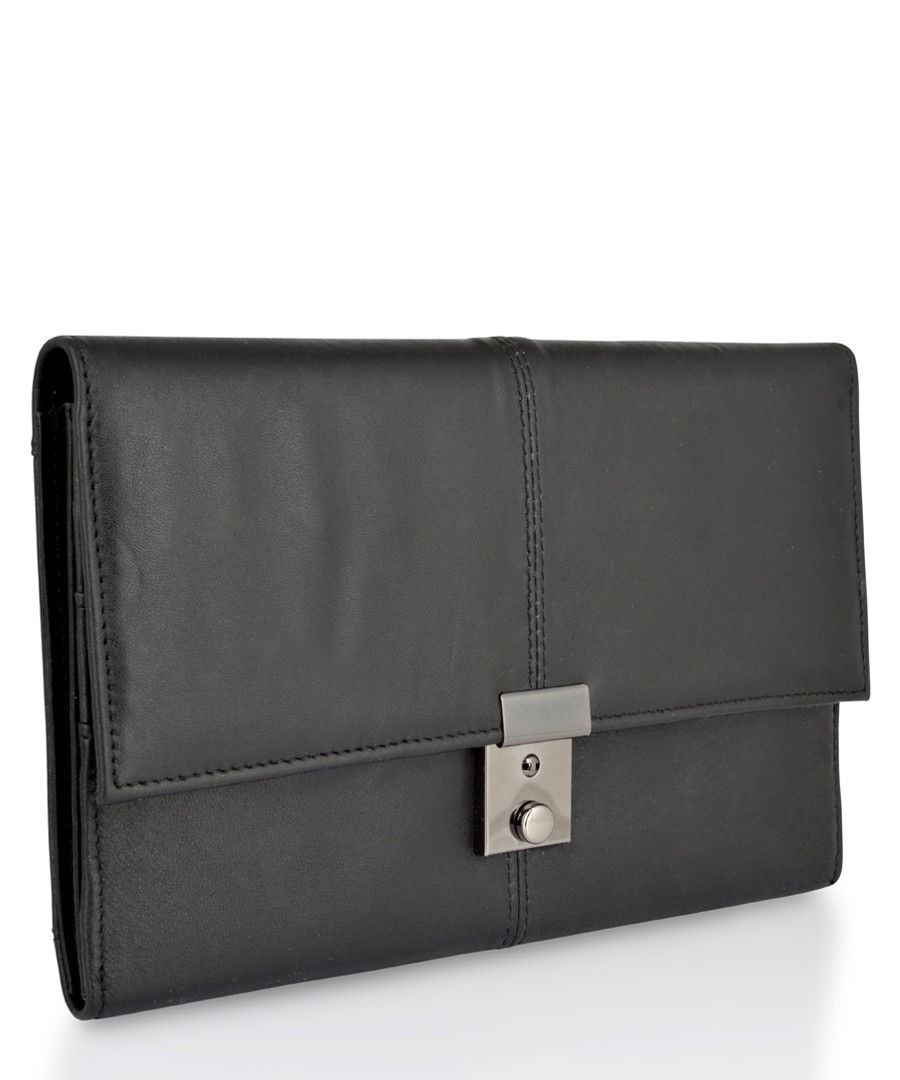 Black & silver-tone leather briefcase Sale - woodland leather