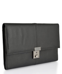 Black & silver-tone leather briefcase