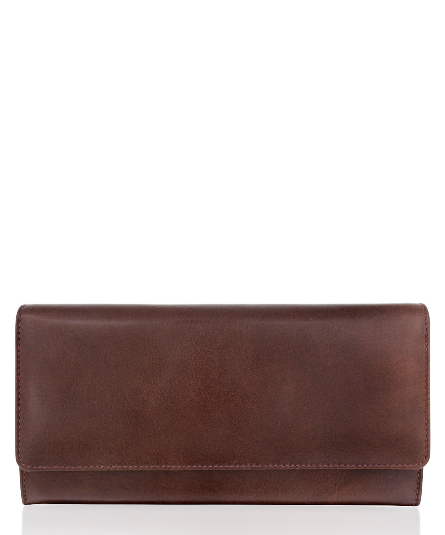 Dark brown leather rectangular wallet Sale - woodland leather
