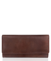 Dark brown leather rectangular wallet
