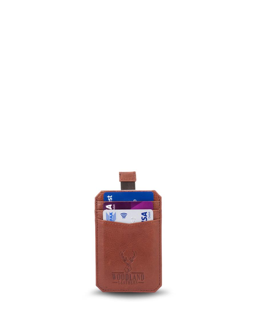 Tan leather 3 slot card holder  Sale - woodland leathers
