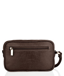 Burnt brown cracked leather pouch