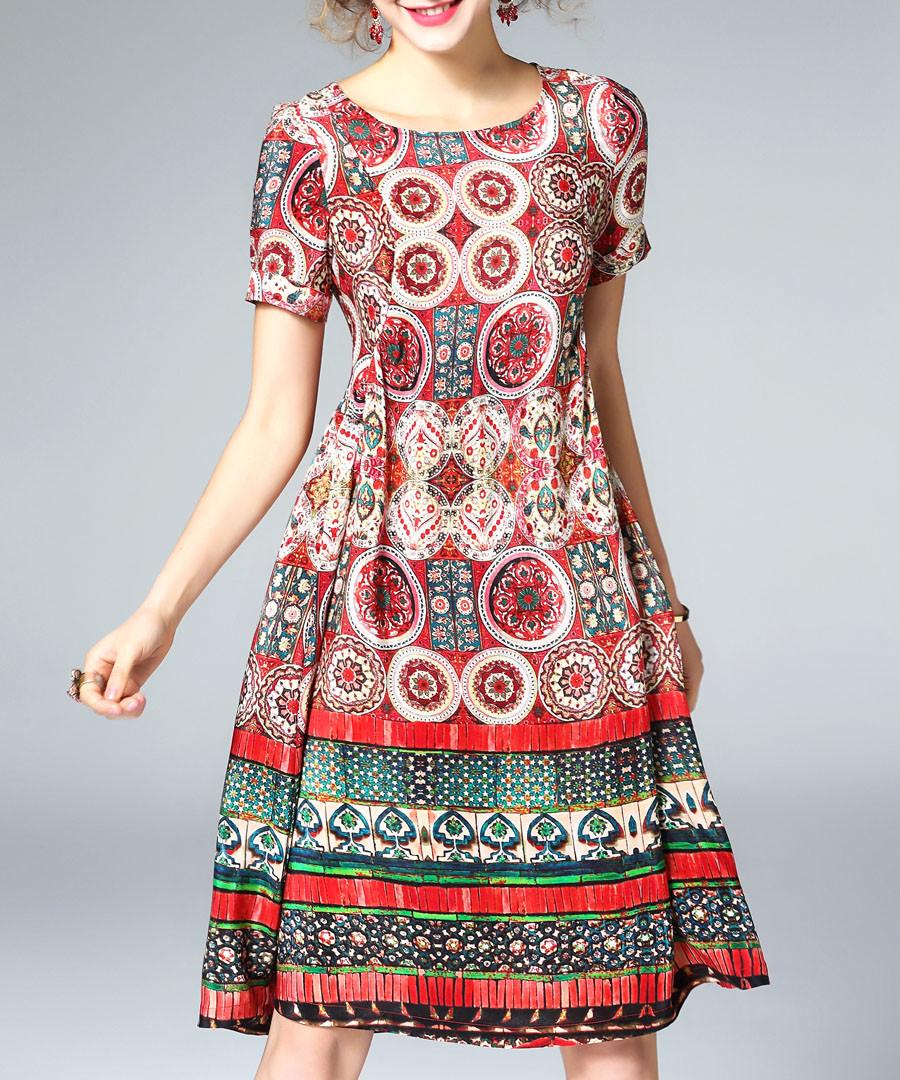 Multi-colour silk geometric print dress Sale - ELENYUN