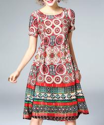 Multi-colour silk geometric print dress