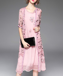 Pink silk floral panel dress