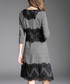 Grey lace panel 3/4 sleeve dress Sale - ELENYUN Sale