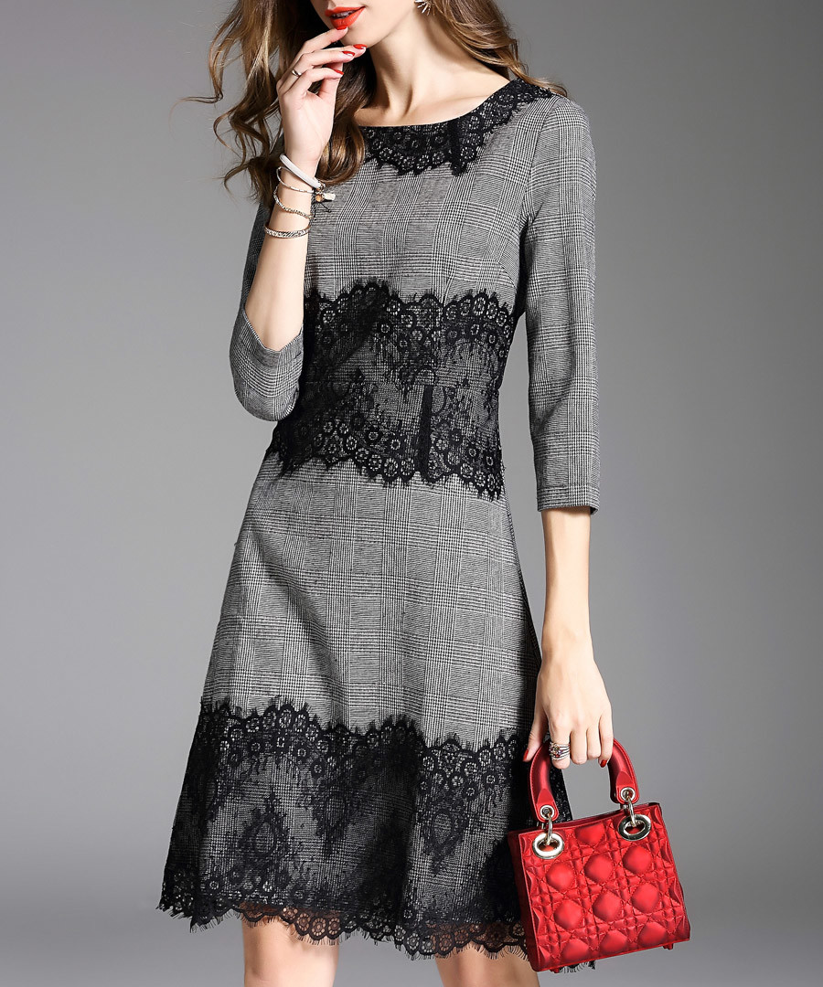 Grey lace panel 3/4 sleeve dress Sale - ELENYUN