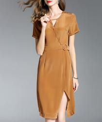 Brown silk wrap slit dress