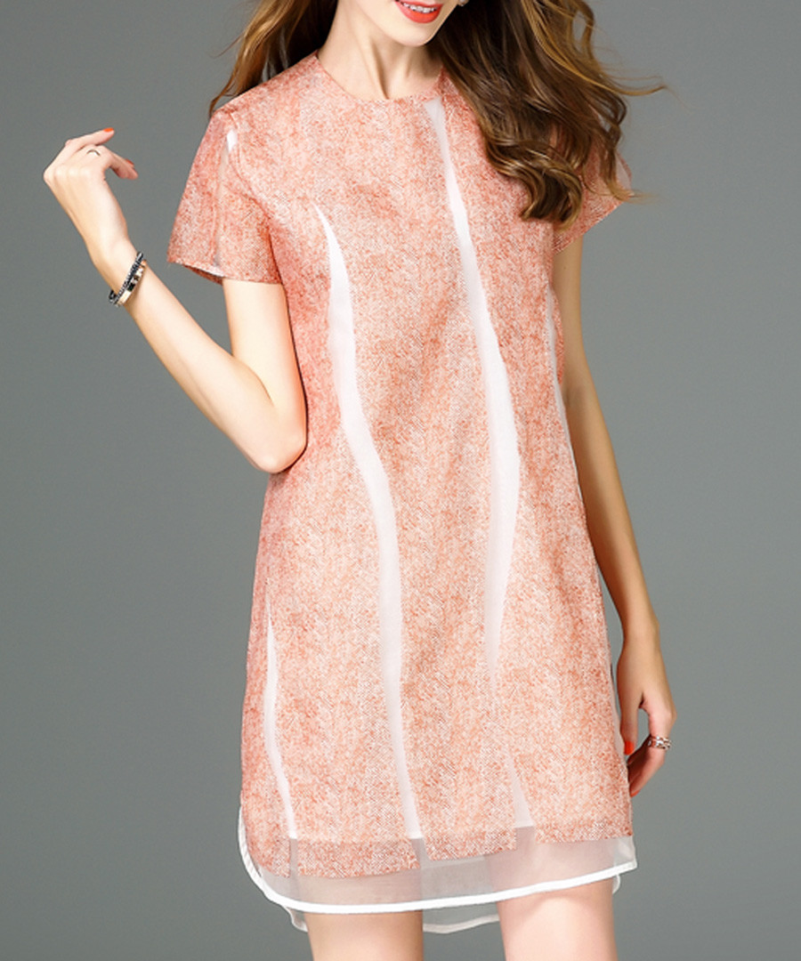 Orange silk striped short sleeve dress Sale - ELENYUN