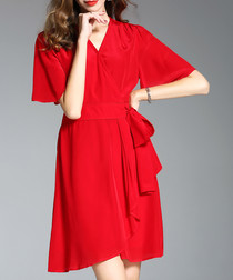 Red silk flared sleeve wrap dress