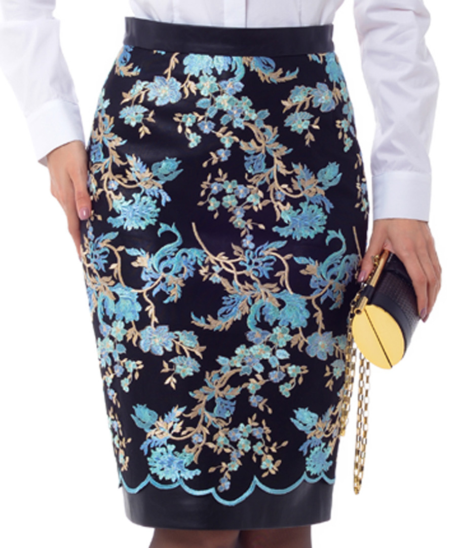 Light blue floral printed midi skirt Sale - Iren Klairie