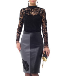 Black & grey panel midi skirt