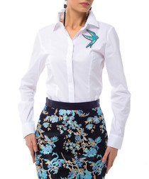 White cotton blend embroidered shirt