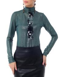 Green embellished trim roll neck top