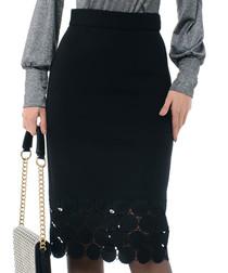 Black cotton blend laser cut skirt
