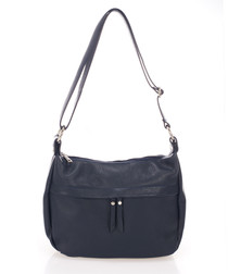 Blue leather curved shoulder bag