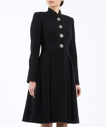 Black pure wool button-up coat