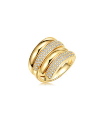 Gold-plated & crystal 4-tier ring